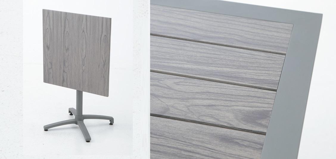 mesa de terraza aluminio lamas plegable suez 70x70. Black Bedroom Furniture Sets. Home Design Ideas