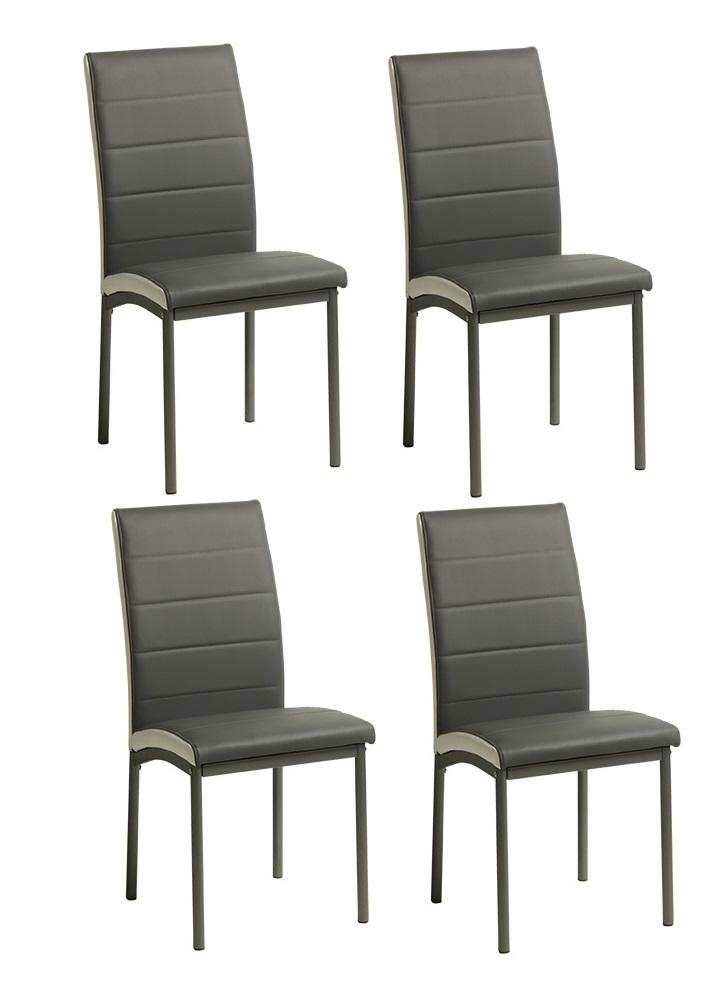 4 uds silla de comedor polipiel gris metz for Sillas comedor polipiel