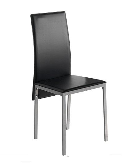 4 uds silla de cocina polipiel negro lyon for Sillas cocina polipiel