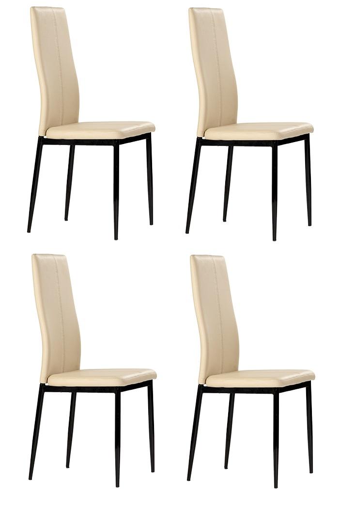 4 uds silla de cocina polipiel capuccino marle www for Sillas comedor polipiel
