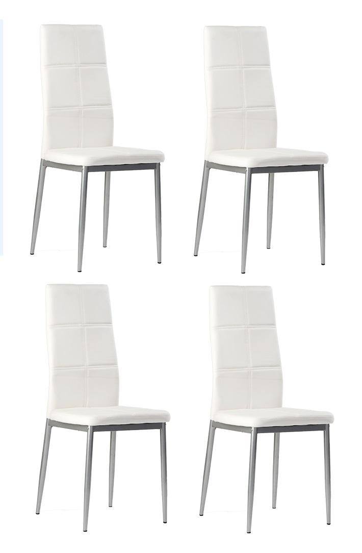 4 uds silla de cocina polipiel blanco bruz - Sillas comedor polipiel ...