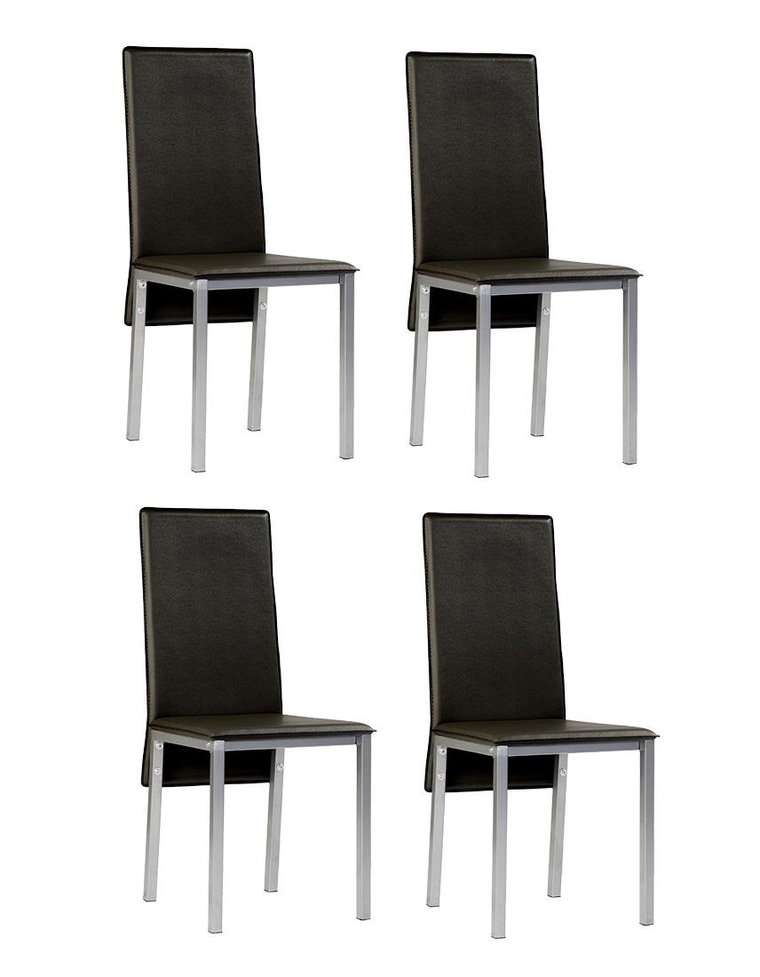 4 uds silla de cocina polipiel negro suzy - Sillas comedor polipiel ...