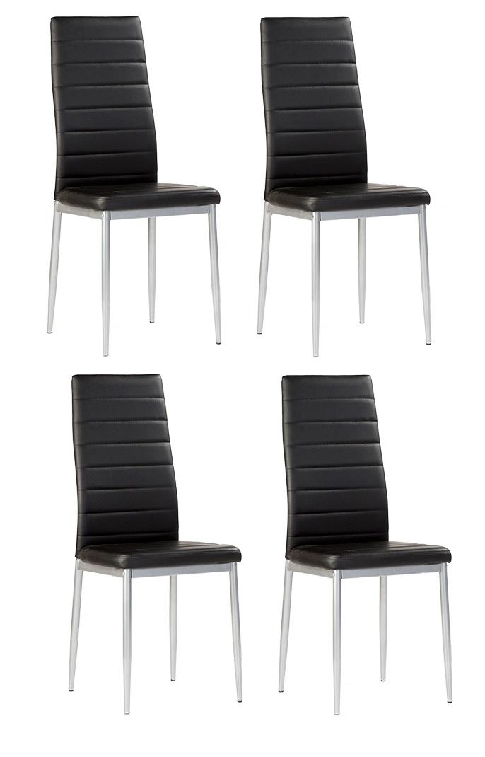 4 uds silla de cocina polipiel negro nantes www for Sillas cocina polipiel