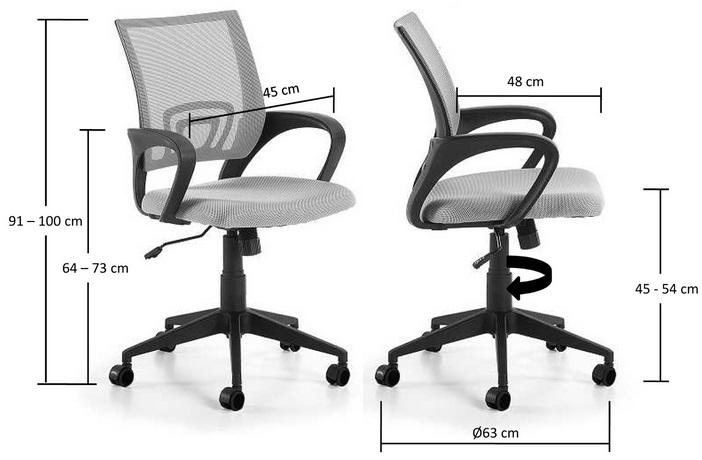Silla operativa ergonomica easy gris - www.regaldekor.com