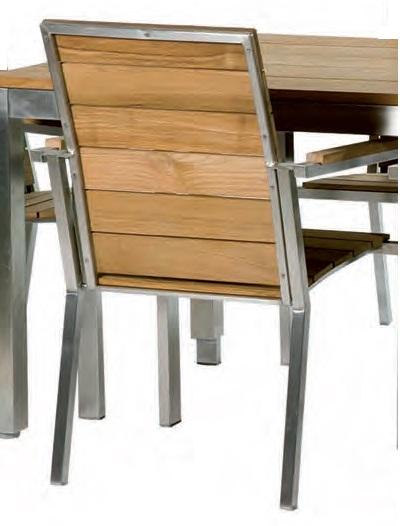 Sillon de terraza acero y teka train for Sillon terraza madera