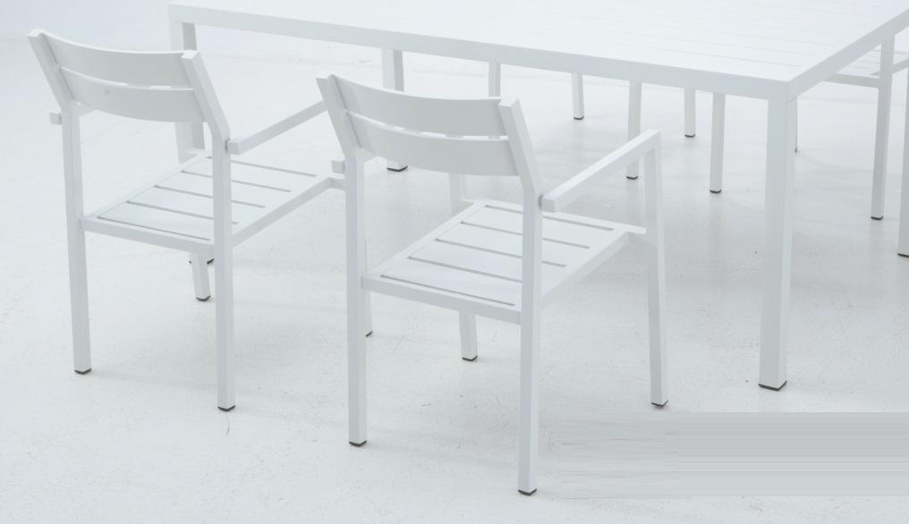 Silla terraza con brazos lamas aluminio blanco bora www - Sillas aluminio terraza ...