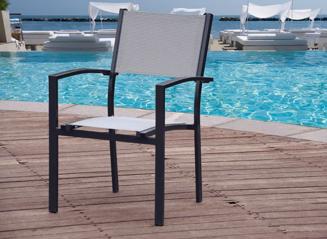 Silla terraza y jardin aluminio antracita torrevieja www for Sillas terraza jardin