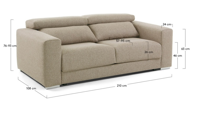 Sofa binari deslizante 3 plazas tela beige - Medidas sofa 3 plazas ...
