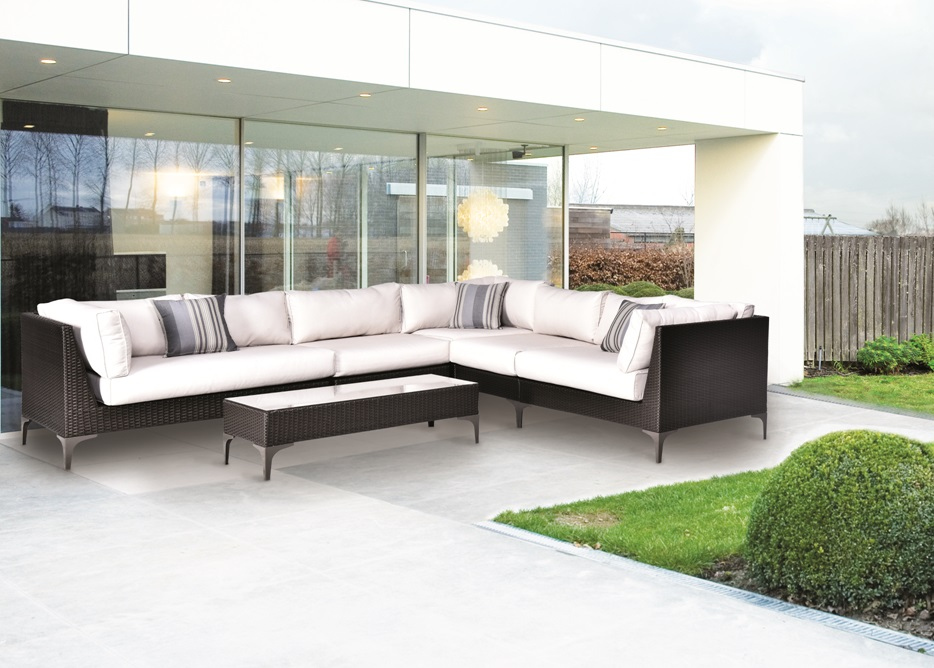 Sofa modular esquinero rattan chocolate land www for Sofa esquinero jardin