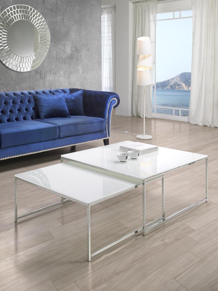 Juego mesas de centro cristal blanco 90x90 www - Mesa cristal blanco ...