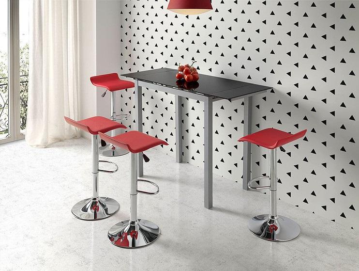 Conjunto de cocina mesa alta extensible cristal negro Sintra ...