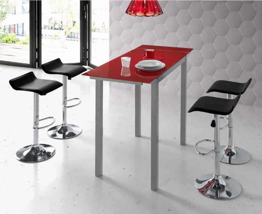 Mesa de cocina alta extensible Sintra cristal rojo PI-037A ...