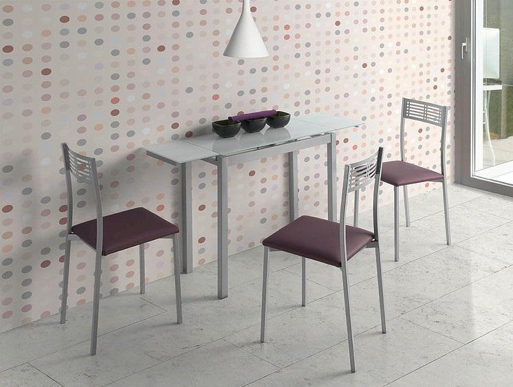 Mesa de cocina extensible lisboa cristal blanco pi 252 for Mesa cocina cristal blanco