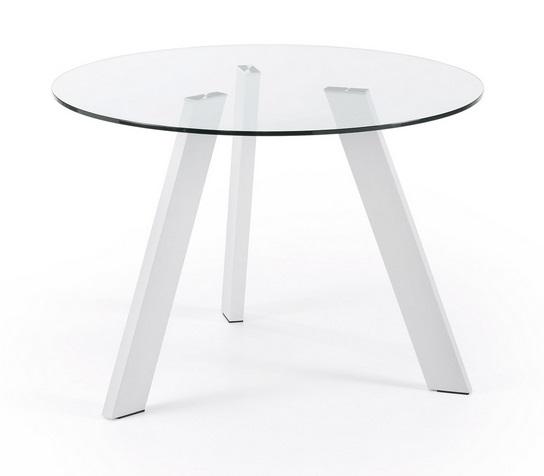 Mesa de comedor redonda cristal pies acero blanco 110 - Mesa comedor redonda cristal ...