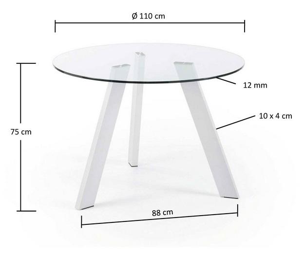 Mesa de comedor redonda cristal pies acero blanco 110 - Mesa comedor cristal redonda ...