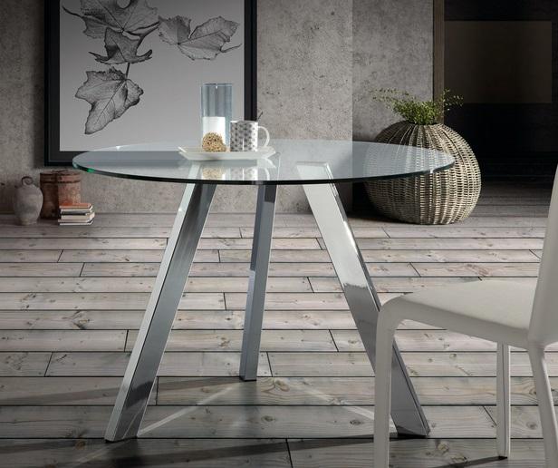 Mesa de comedor redonda cristal pies acero inox 110 - www.regaldekor.com