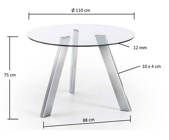 Mesa de comedor redonda cristal pies acero inox 110 www - Mesas cristal redondas ...