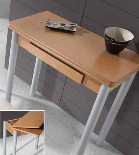 Mesa de cocina redonda extensible Pisa MDF roble 80x40-80 cm ...
