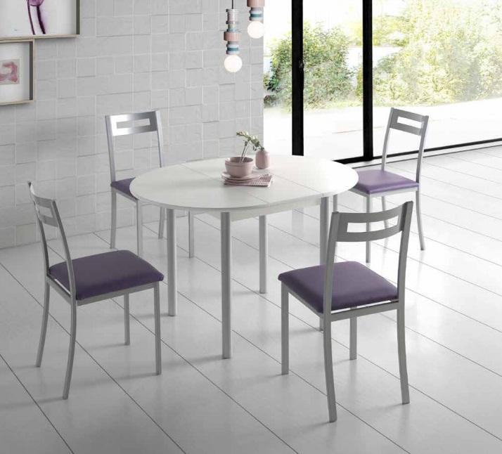 Mesa de cocina redonda extensible Lagos MDF blanca PI-490 ...