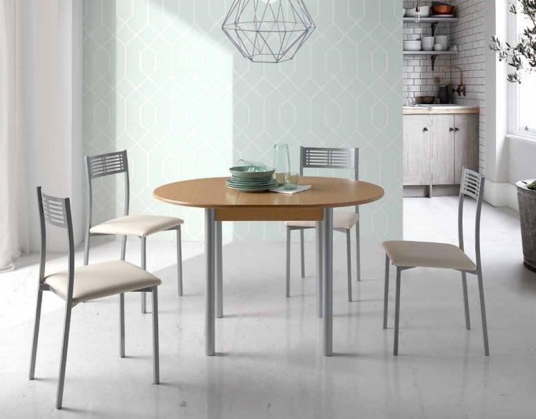 Mesa de cocina redonda extensible lagos mdf roble 90 120 for Mesas de cocina redondas extensibles