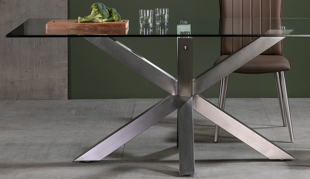 Mesa de comedor cristal acero inox Paula 180x100 cm - www.regaldekor.com