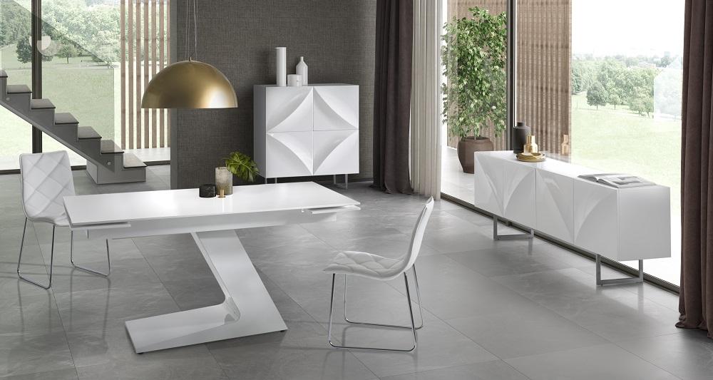 Conjunto de comedor minimalista blanco dt 21 www - Conjunto mesa extensible y sillas comedor ...