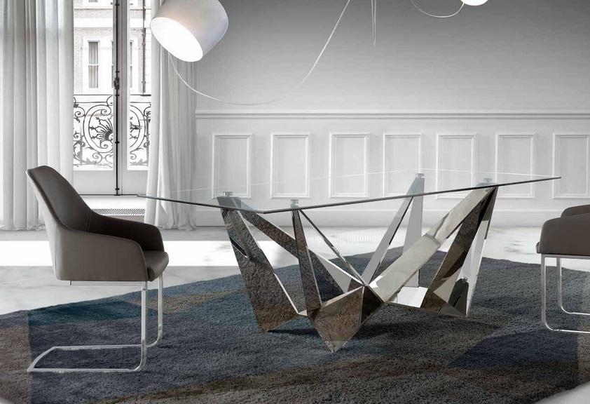 Mesa de comedor Paris cristal acero inox brillo 220x100 PR ...