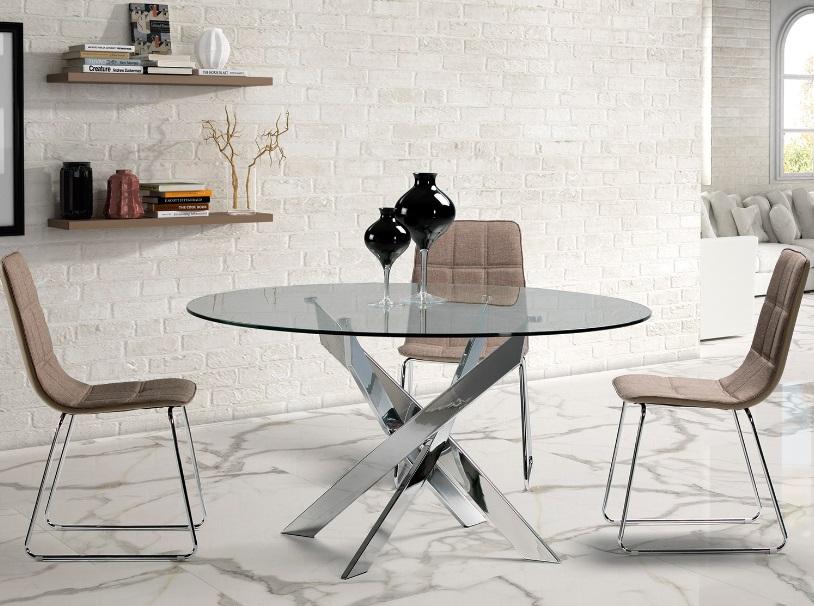 Mesa de comedor redonda cristal acero cromado Ruth 140 cm - www ...