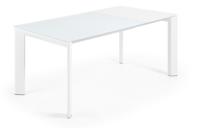 Mesa de comedor extensible aluminio blanco cristal blanco for Mesa comedor cristal 120 x 80