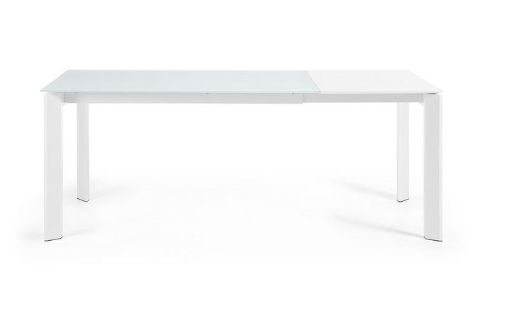 Mesa de comedor extensible aluminio blanco cristal blanco for Mesa cristal 140 x 90