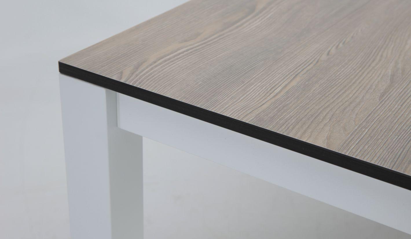Mesa Terraza Combo Imitacion Madera Aluminio Blanco 180x100