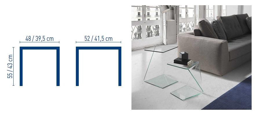 Set mesas auxiliares cristal barman for Mesas auxiliares de cristal
