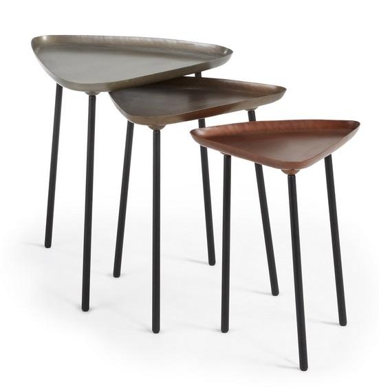 Set mesas auxiliares industrial zinc laton cobre - www.regaldekor.com