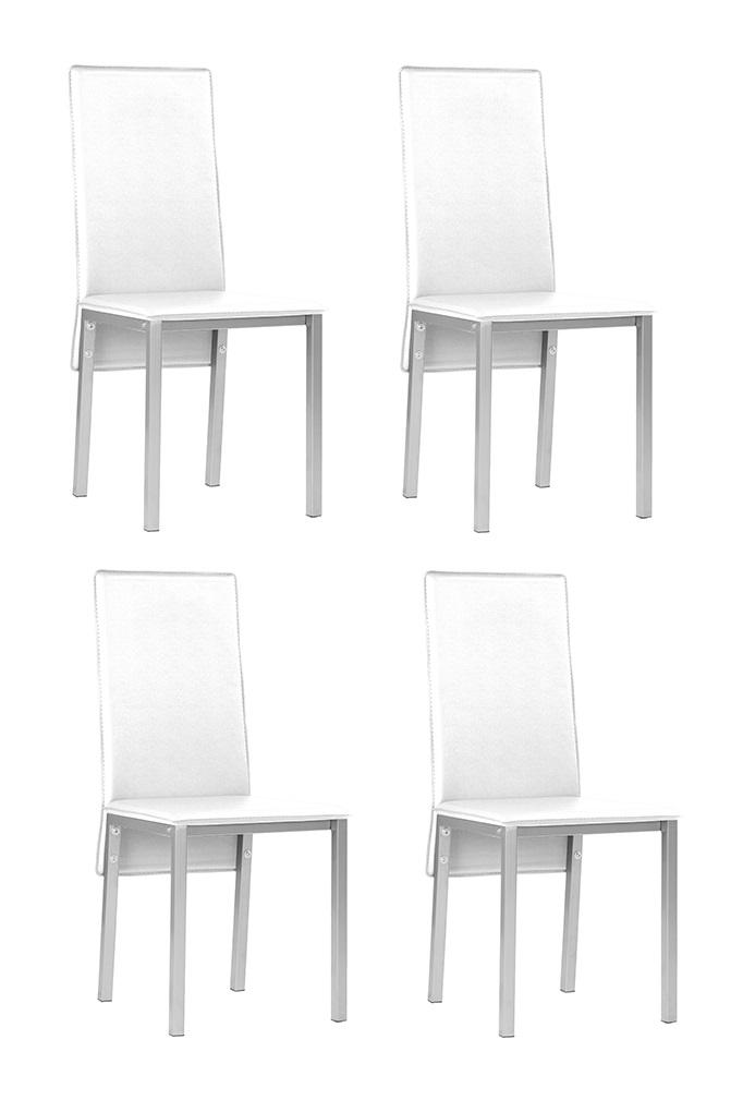 4 uds silla de cocina polipiel blanco suzy www for Sillas cocina polipiel