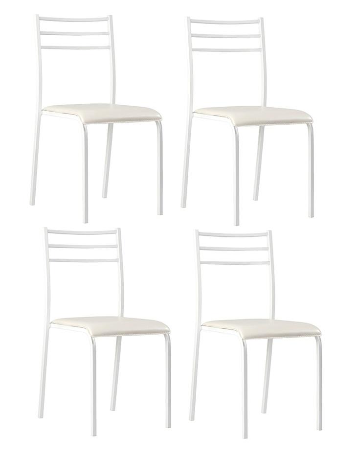 4 uds silla de cocina apilables blanco mont blanc www for Sillas de comedor apilables