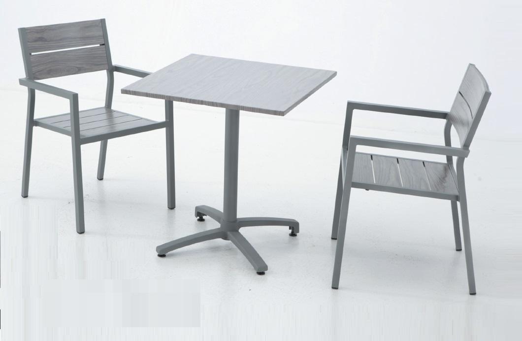 Conjunto de terraza aluminio lamas mesa plegable suez for Mesas de terraza plegables