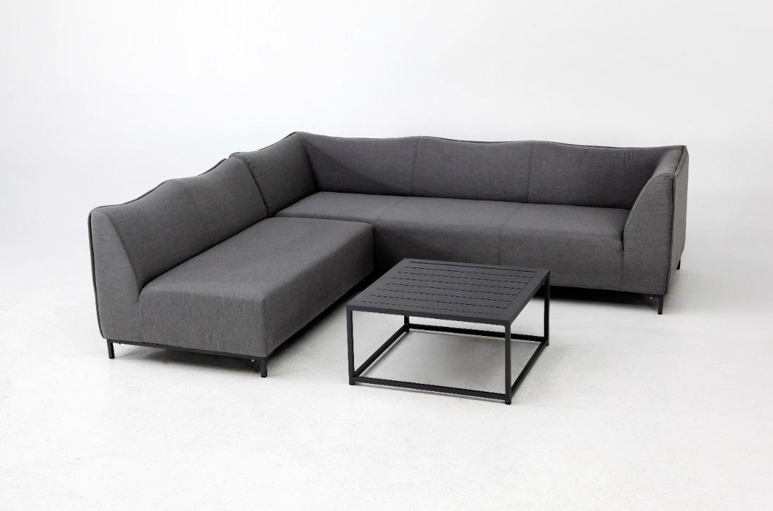 Naxos set Sofa esquinero 5 plazas terraza lounge tapizado gris