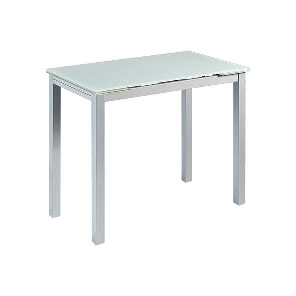 Mesa de cocina extensible sintra cristal blanco www for Mesa cocina cristal blanco