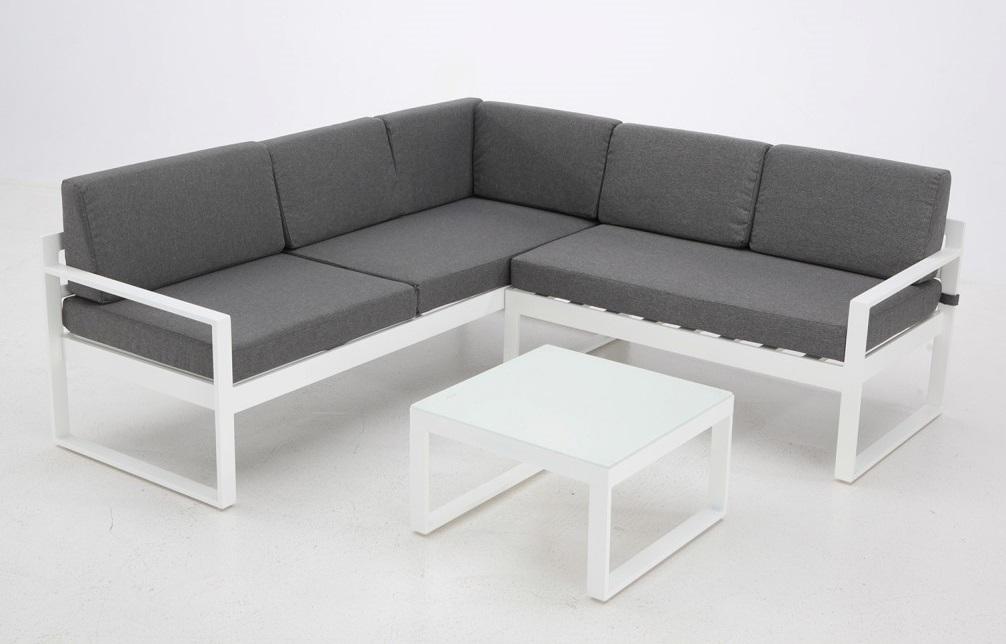 Conjunto de terraza y jardin aluminio lamas blanco bengasi for Sofa rinconera jardin