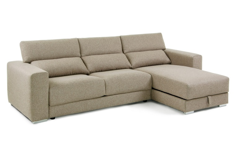 Sofa cama pocket beige con colchon for Sofa 5 plazas chaise longue
