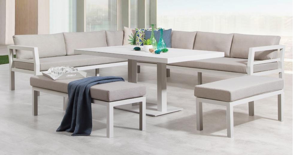 Set Miami sofa terraza aluminio blanco con mesa de comedor