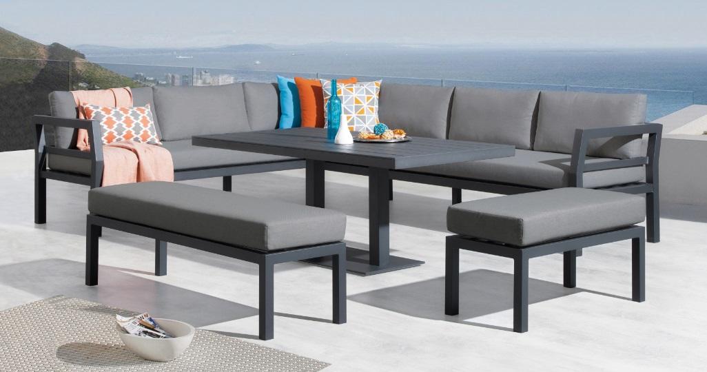 Set nasau sofa terraza aluminio gris antracita con mesa de comedor