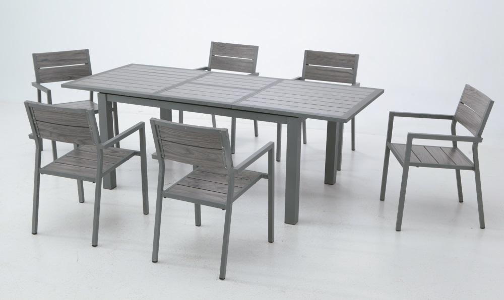 Conjunto de terraza aluminio lamas mesa plegable suez for Conjuntos de terraza