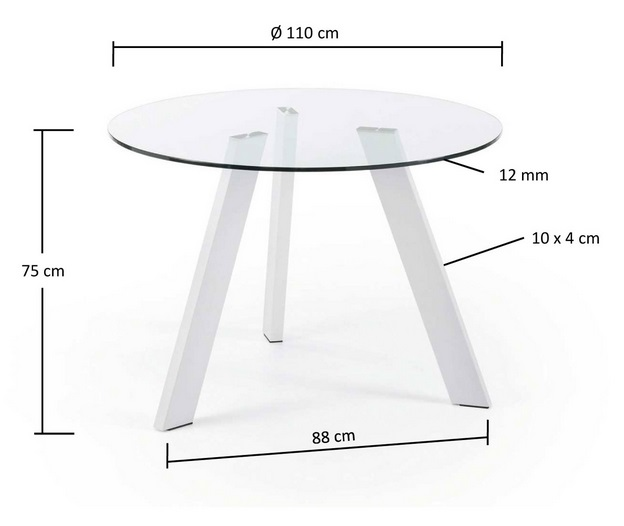 Mesa de comedor redonda cristal pies acero blanco 110 for Mesa comedor redonda cristal