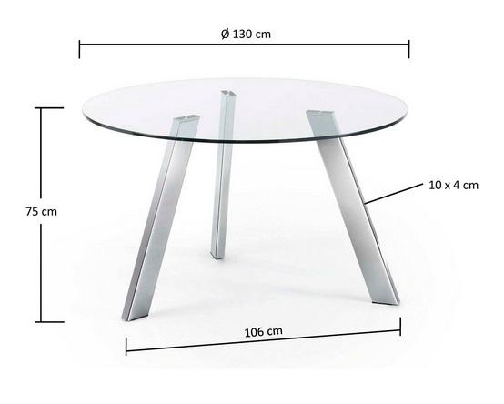 Mesa de comedor redonda cristal pies acero inox 130 www for Mesa comedor redonda cristal