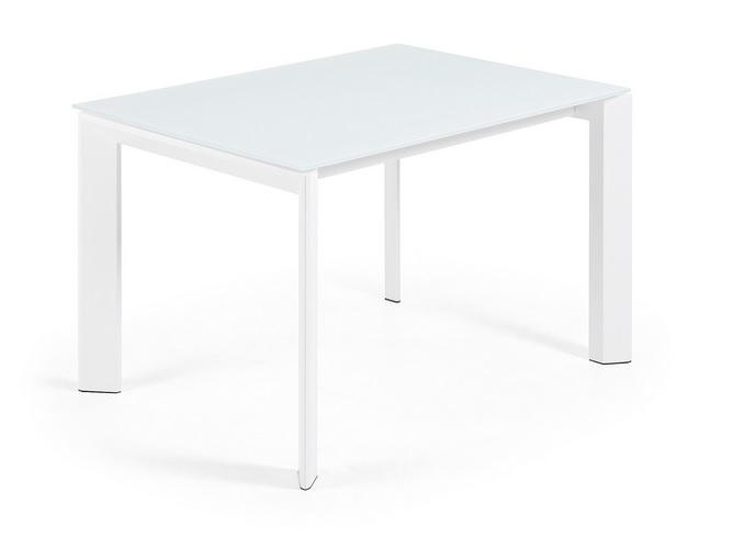 Mesa de comedor extensible aluminio blanco cristal blanco for Mesa cristal 120