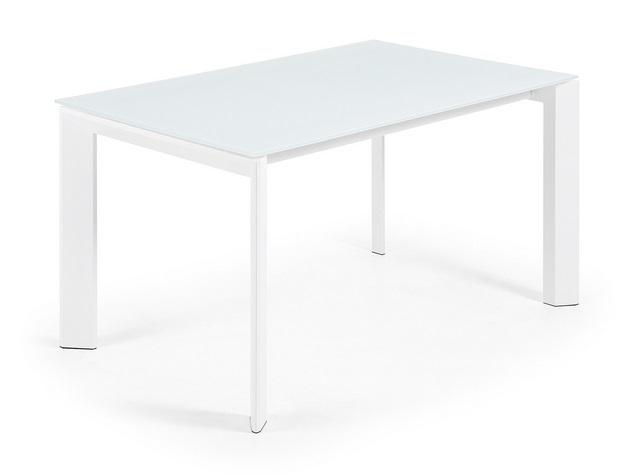 Mesa de comedor extensible aluminio blanco cristal blanco lam 140 200x90 - Mesa cristal blanco ...