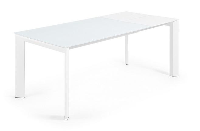 Mesa de comedor extensible acero y cristal square - Mesa cristal blanco ...