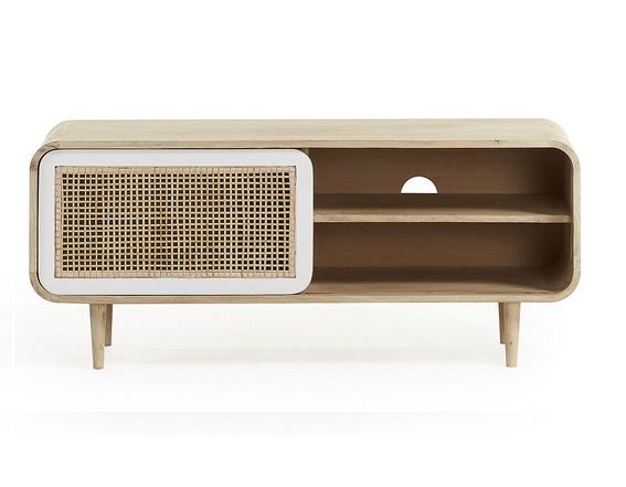 Mueble tv vintage madera natural blanco ruzafa 120x50 for Muebles salon madera natural