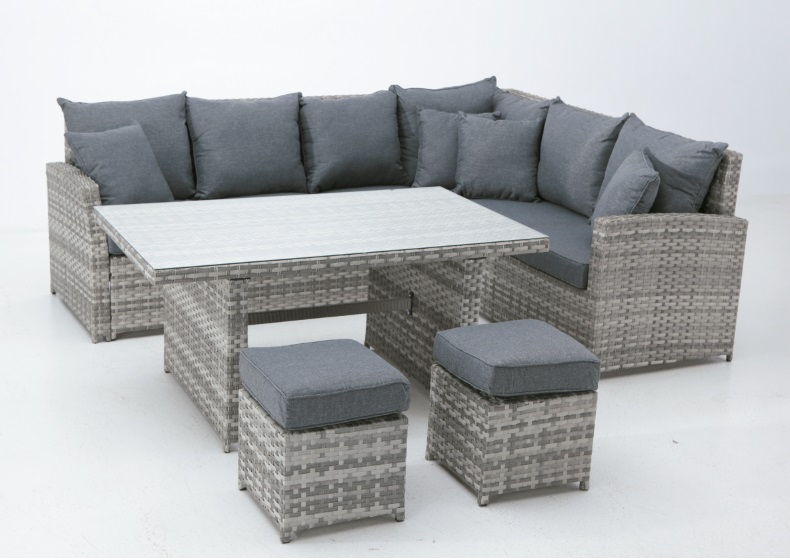 Sofa de terraza chaise longue y mesa de centro para for Sofa esquinero jardin